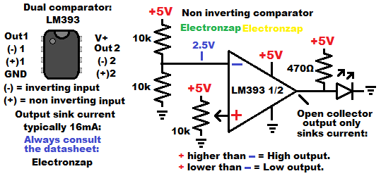 LM393 dual comparator integrated circuit non inverting demonstration circuit schematic symbol and pin layout by electronzap