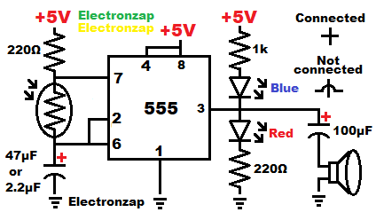 Light dependent resistor LDR astable 555 timer with speaker circuit learning electronics lesson 0064