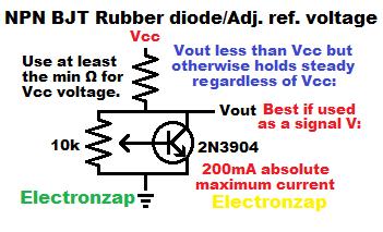 NPN BJT rubber diode aka adjustable zener like reference voltage learning electronics lesson 0042
