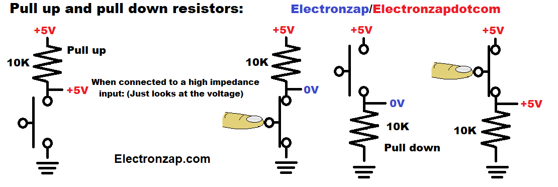 Pull up and pull down resistors schematic diagram by electronzap