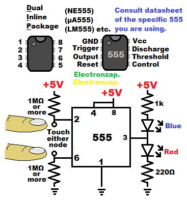 Touch based bistable 555 timer circuit with LEDs output learning electronics lesson 0065