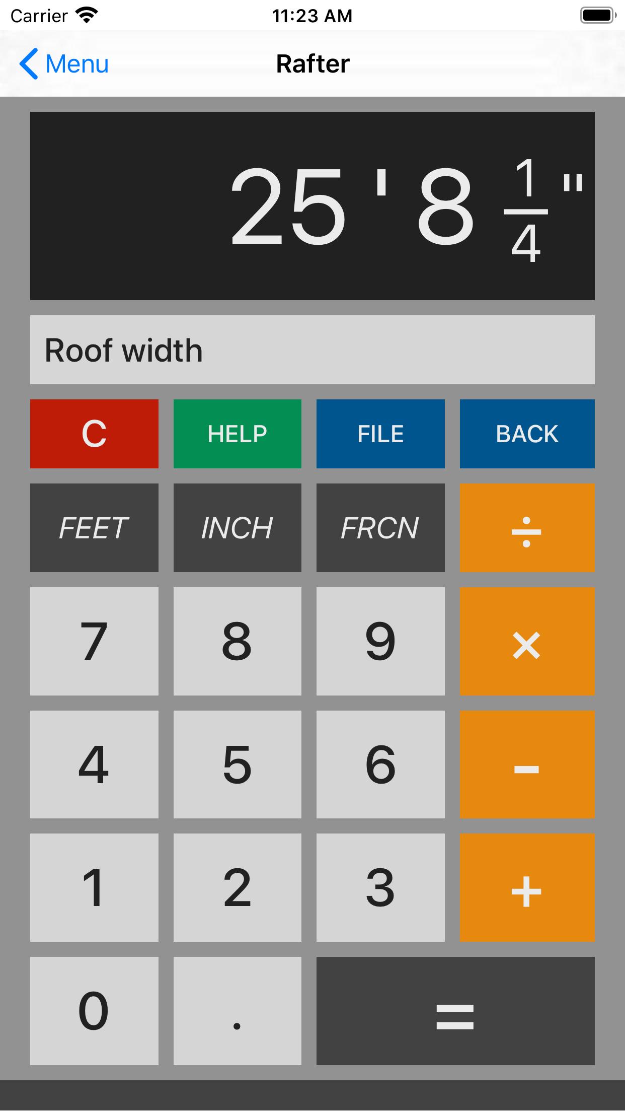 Roof width