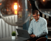 Fred Pandrok at laptop computer