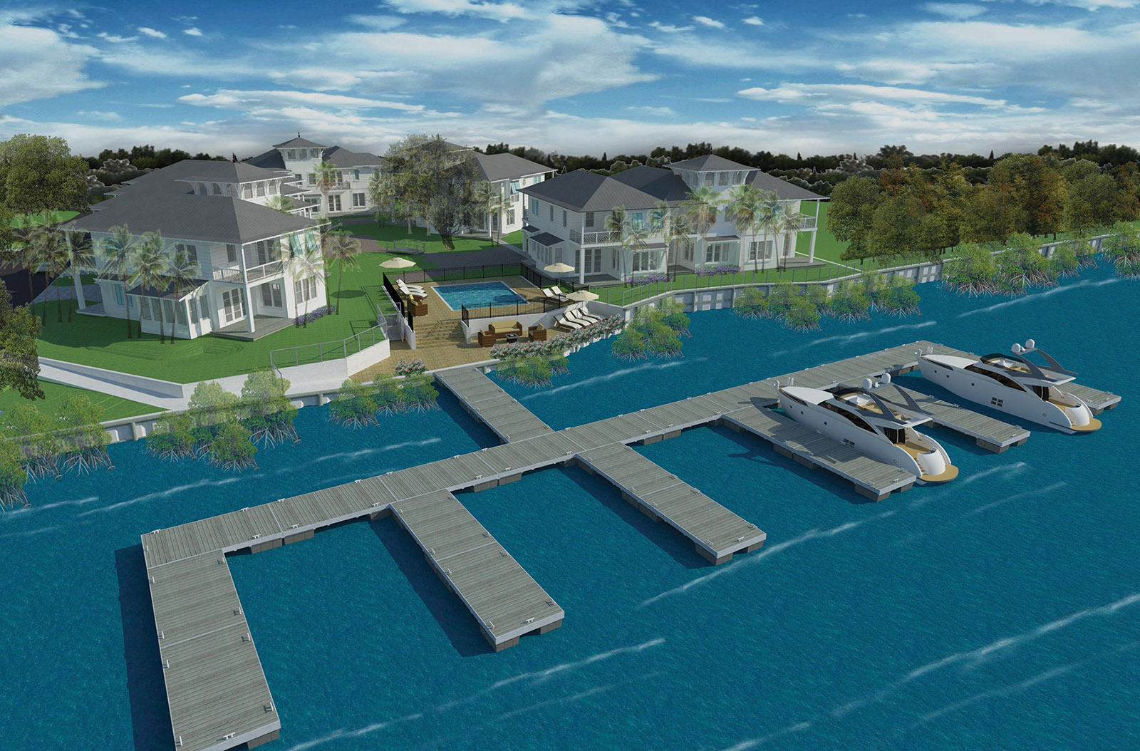 Rendered aerial view of waterfront homes in Jacksonville at Villa Calissa
