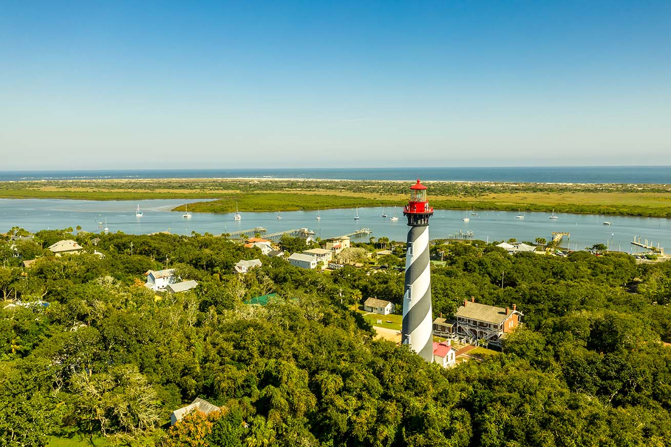 Aerial view of Saint Augustine Lighthouse at Anastasia Island in Florida