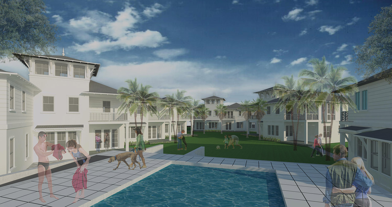 Rendered image of the pool at Villa Calissa