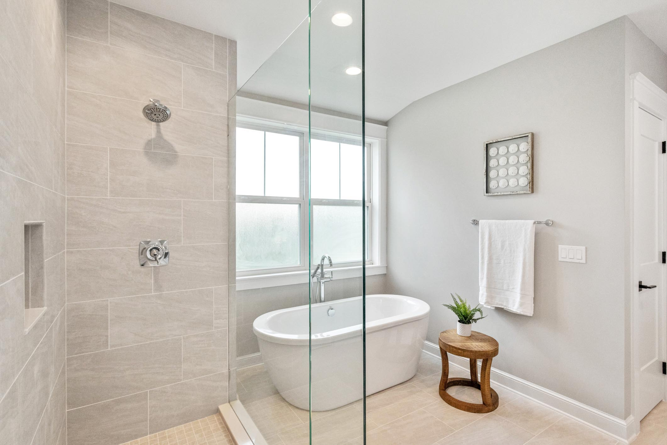 Master bathroom shower and garden tub