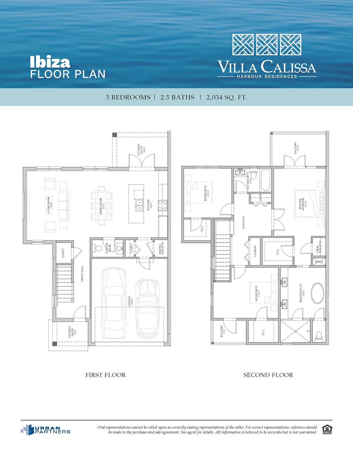 Ibiza floorplan at Villa Calissa