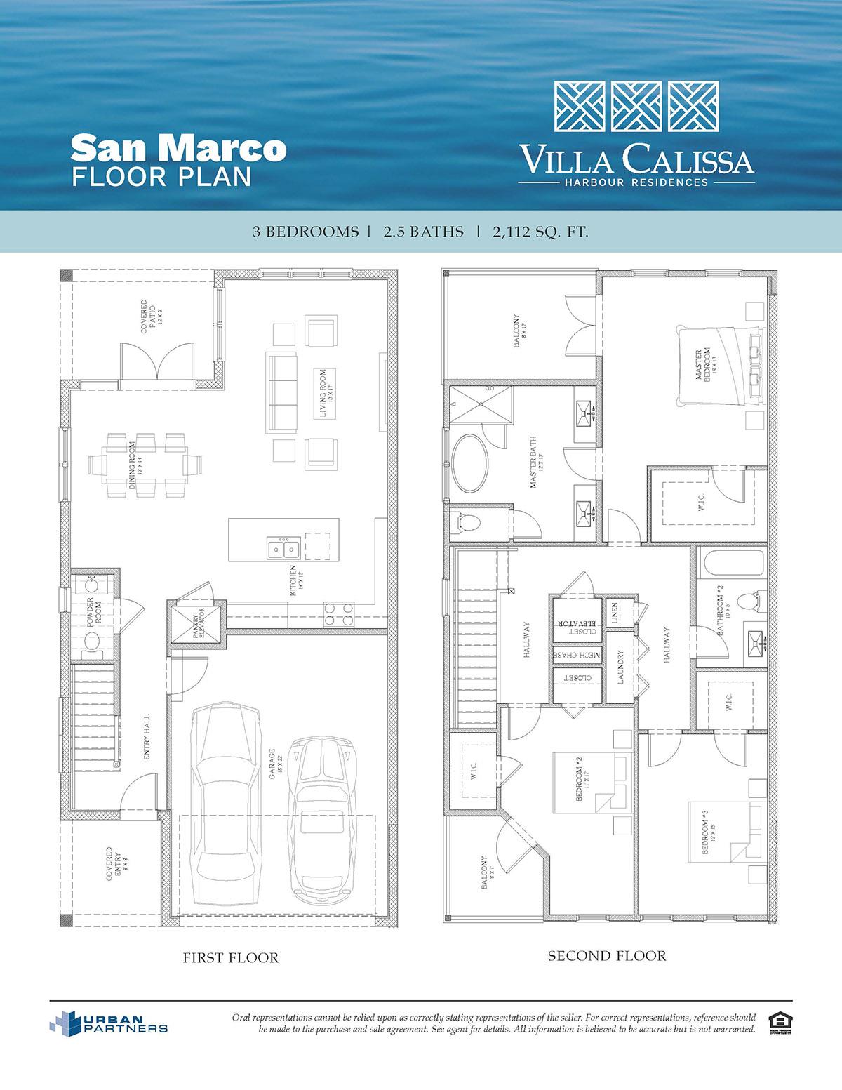 San Marco floor plan at Villa Calissa