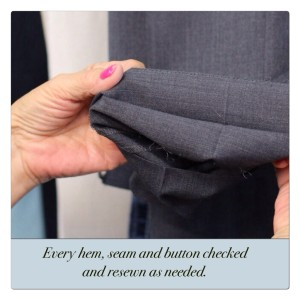 "Image of woman checking pant seams and caption ""Every hem, seam, and button checked and resewn as needed."""