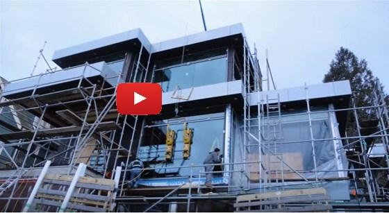 glass installation crane used by Splash Glass