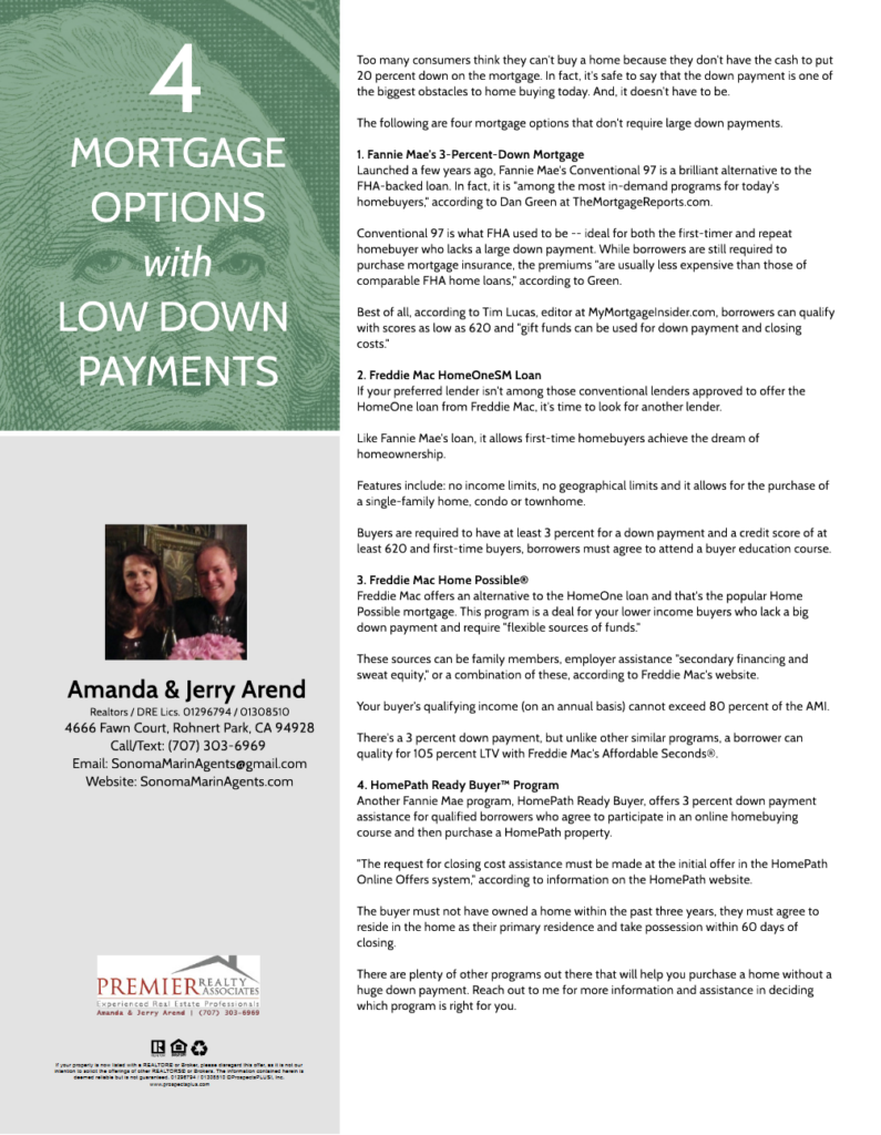 4 Mortgage Options with Low Down Payments