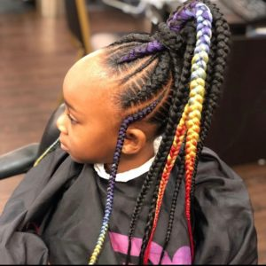 Braided high ponytail with rainbow colors