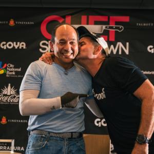 Chef Ralph Pagano and Burnie Matz show some love before the Chef Showdown