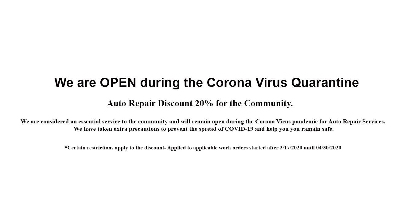 20% Off Auto Repair - Open During Corona Virus Quarantine