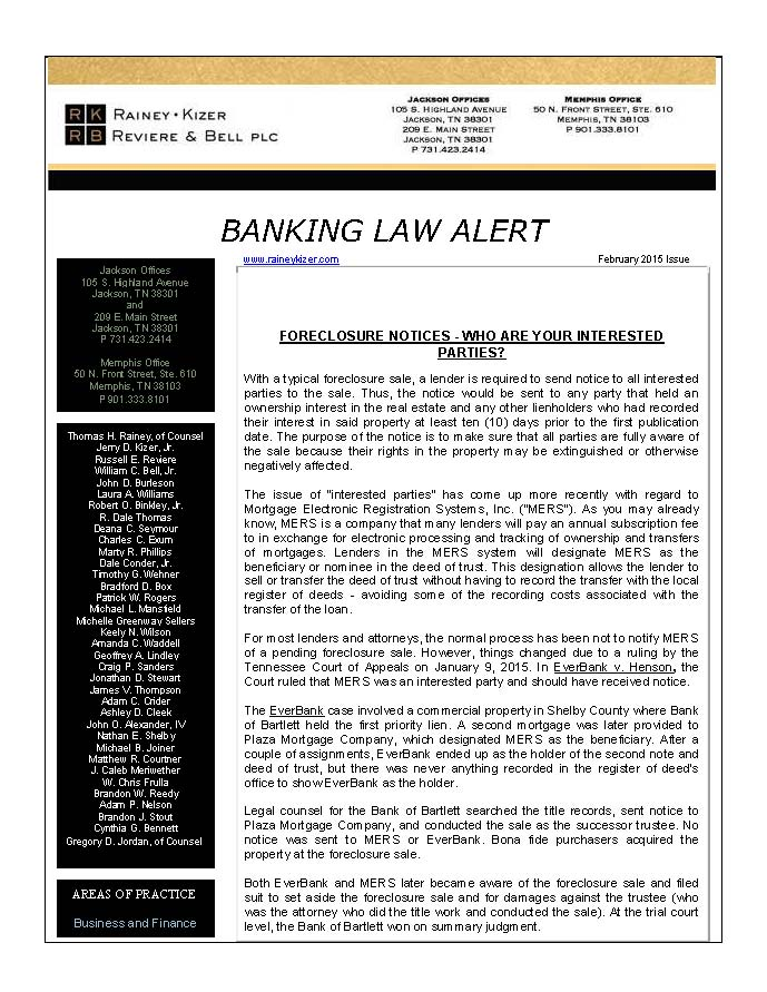 Page 1 Banking Law AlertT