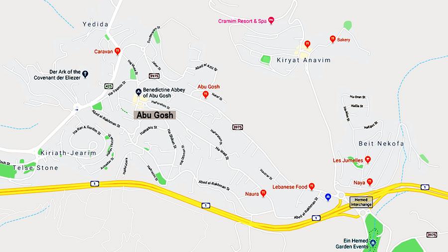 Map of Abu Gosh, near Jerusalem