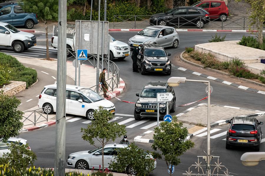 corona virus road block israel