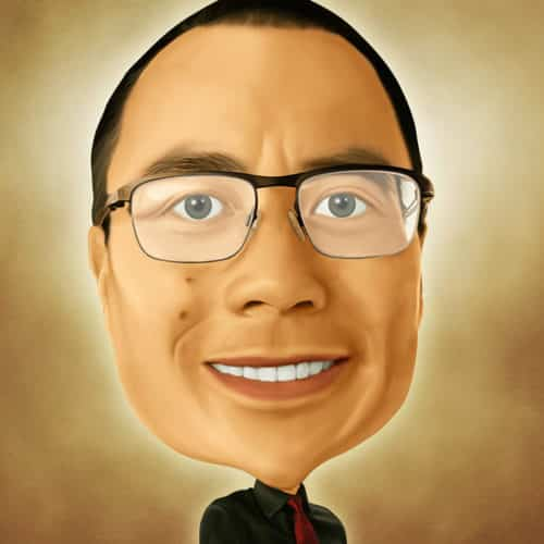 Caricature of John Yueh at Automax Recruiting