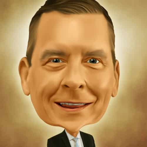 Caricature of Chuck Thomas at Automax Recruiting