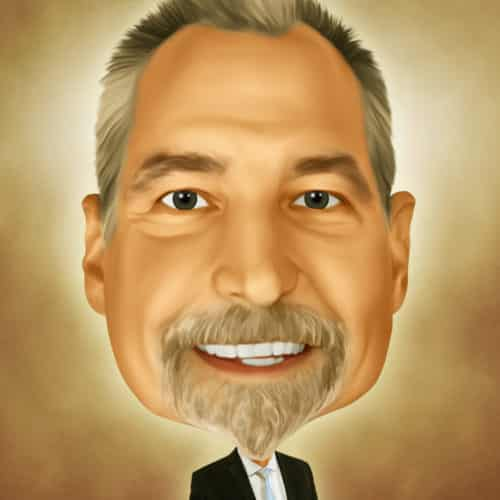 Caricature of Ernie Kasprowics at Automax Recruiting