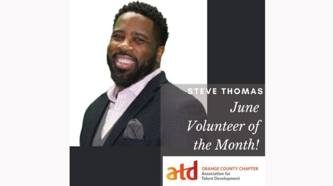 Steve Thomas Recognized By ATC-OC As The June Volunteer Of The Month