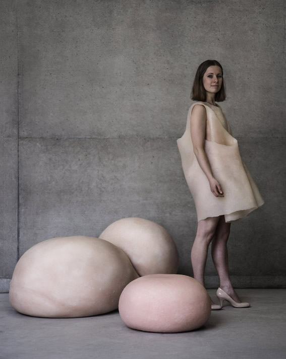 Both the 'Skin Chair' and the 'Skin Stool' with 9191 modelling the 'Skin Dress'.