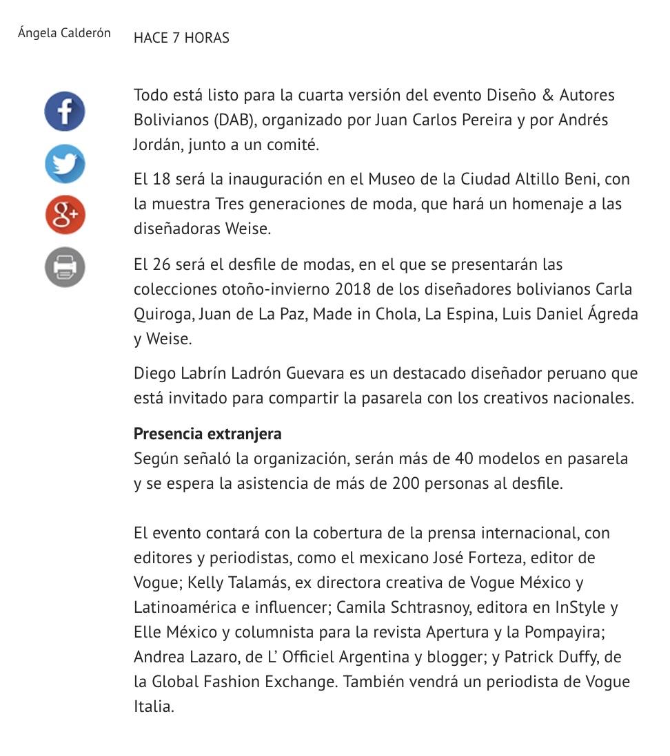 Periódico El Deber - Camila Straschnoy 2