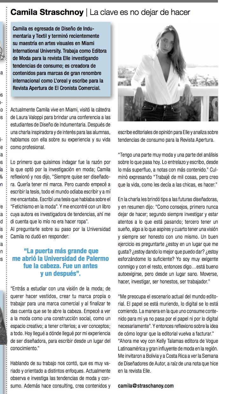 Periódico de Diseño Comunicación, Camila Straschnoy