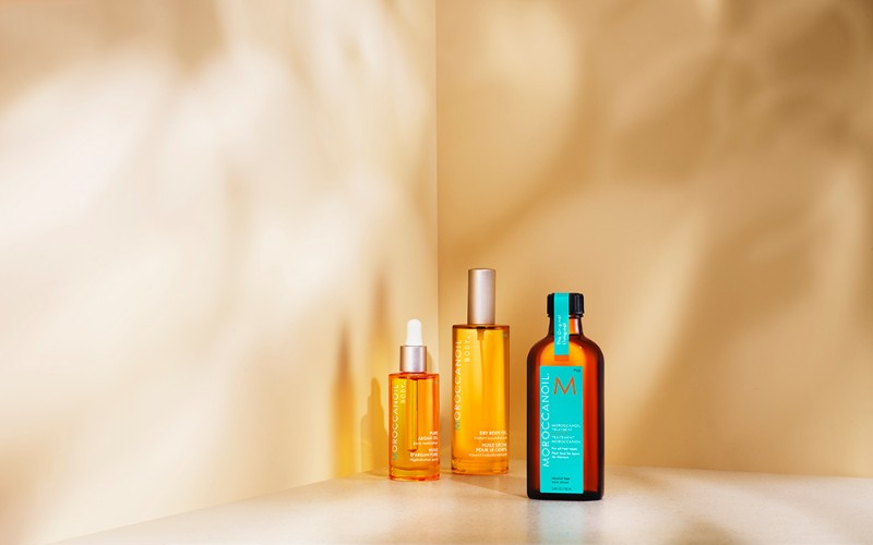 Argan oil-infused Moroccanoil products, including Moroccanoil Treatment, Dry Body Oil and Pure Argan Oil.