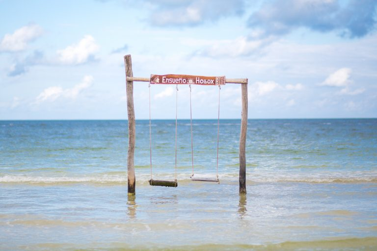 swing on the beach in isla holbox, mexico