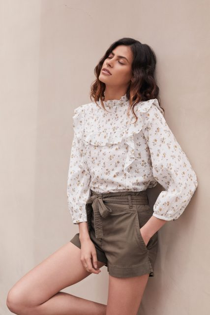 Veronica Beard floral blouse and shorts - late summer style
