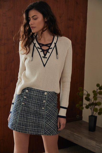 Veronica Beard sweater and skirt - late summer style