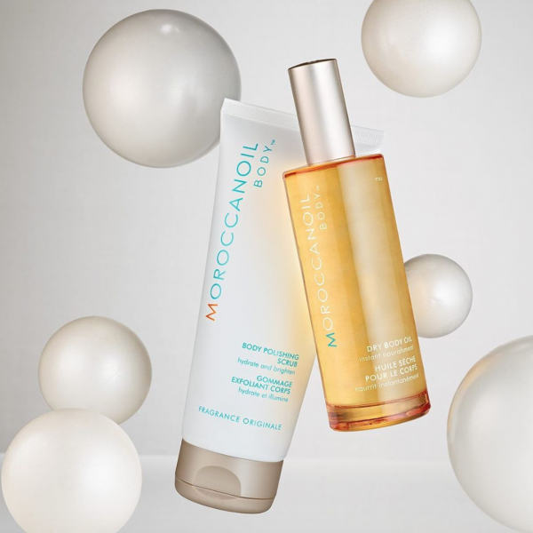 Moroccanoil Body Polishing Scrub and Dry Body Oil, the best products for exfoliating in the morning, morning skincare routine