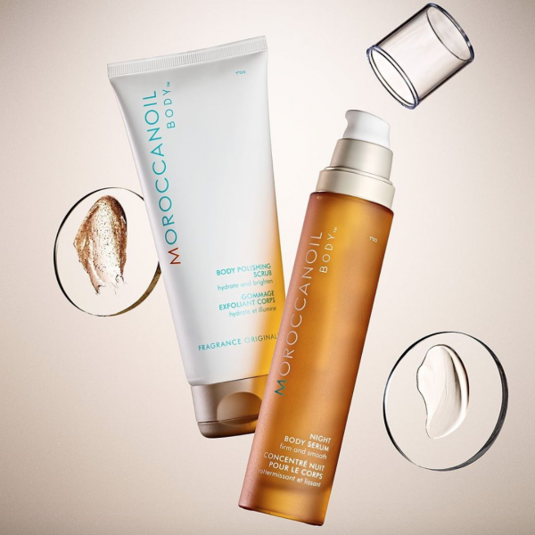 Moroccanoil Body Polishing Scrub and Night Body Serum - the best products for exfoliating at night, night skincare routine
