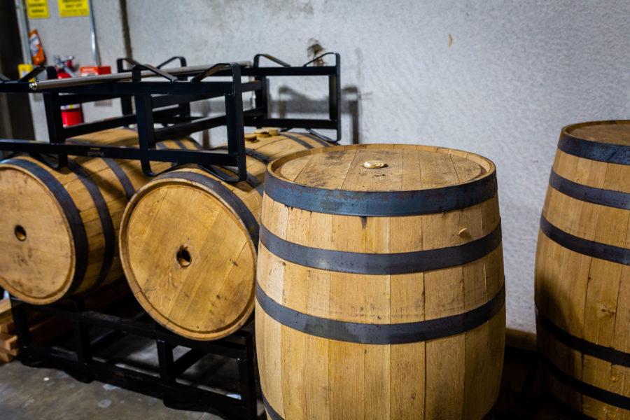 distillery tour whiskey barrels