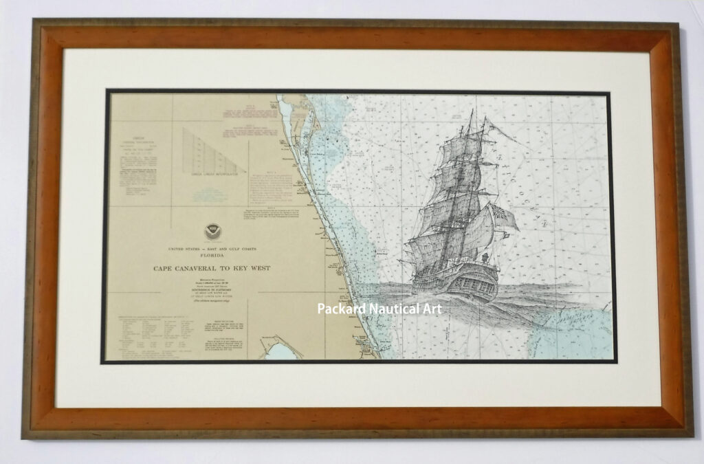 Pen & ink drawing of the British Merchantman Spring of Whitby lost off central Florida