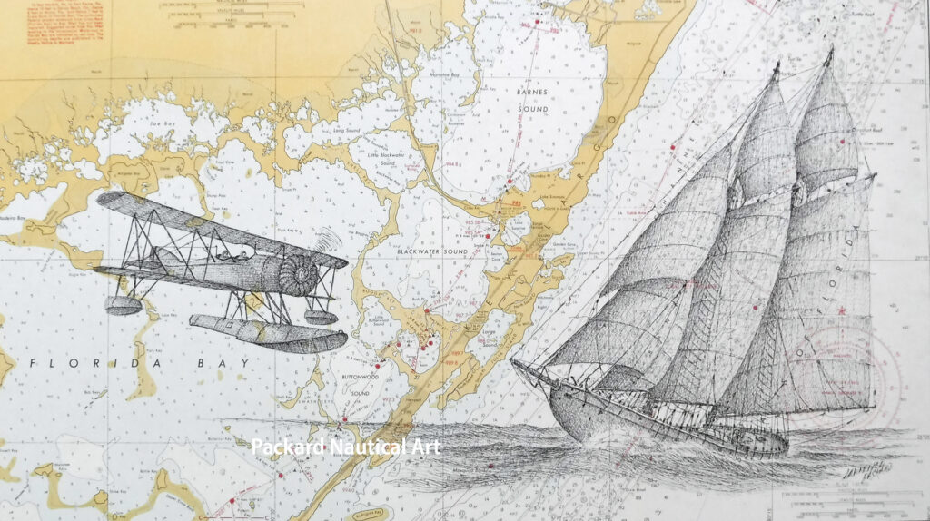 "Drawing of the ""rum runner"" the schooner Annabelle, off southeast Florida along with the Coast Guard float plane that captured her in 1922."