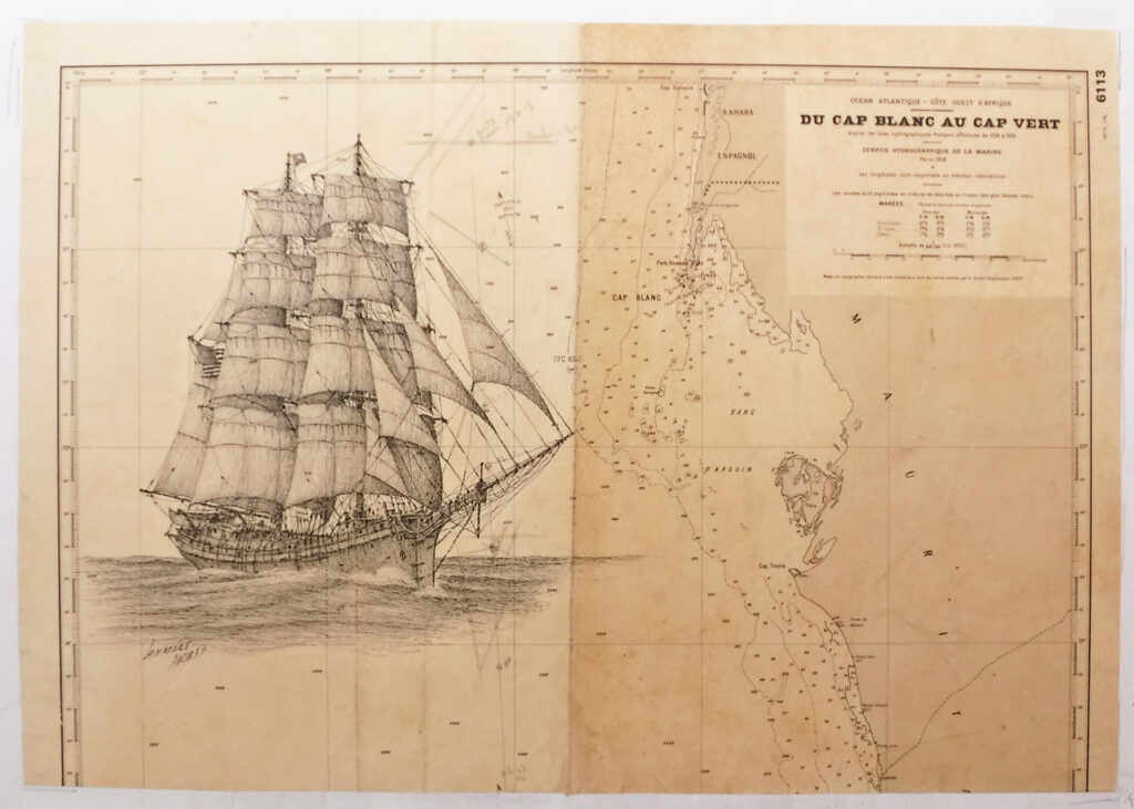 Drawing of the Brig Commerce on a French chart of the Western Sahara where she ran aground.