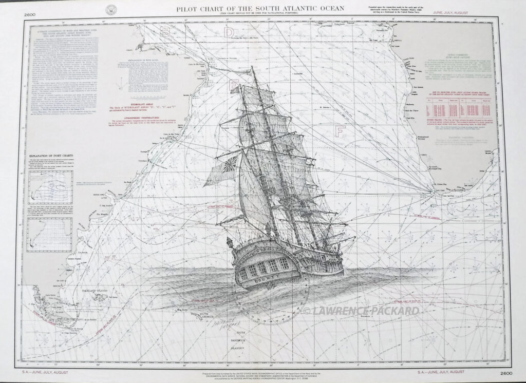 HMS Bounty on a South Atlantic Pilot Chart
