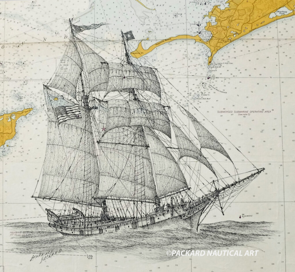 Pen & ink drawing of the USS Revenge