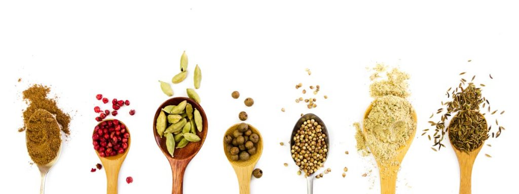 fresh and bold spices in spoon