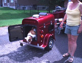 A red cargo trailer
