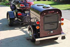 A dark brown cargo trailer