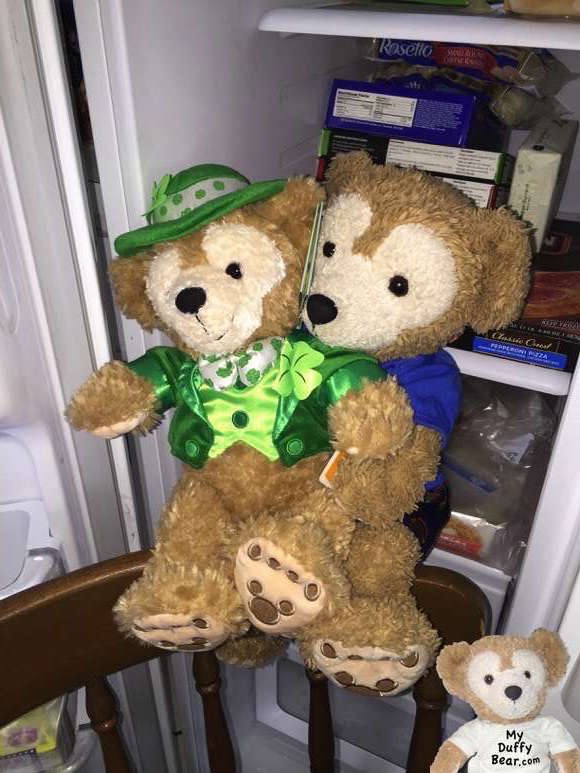 Duffy the Disney Bear holds on tightly to the Leprechaun