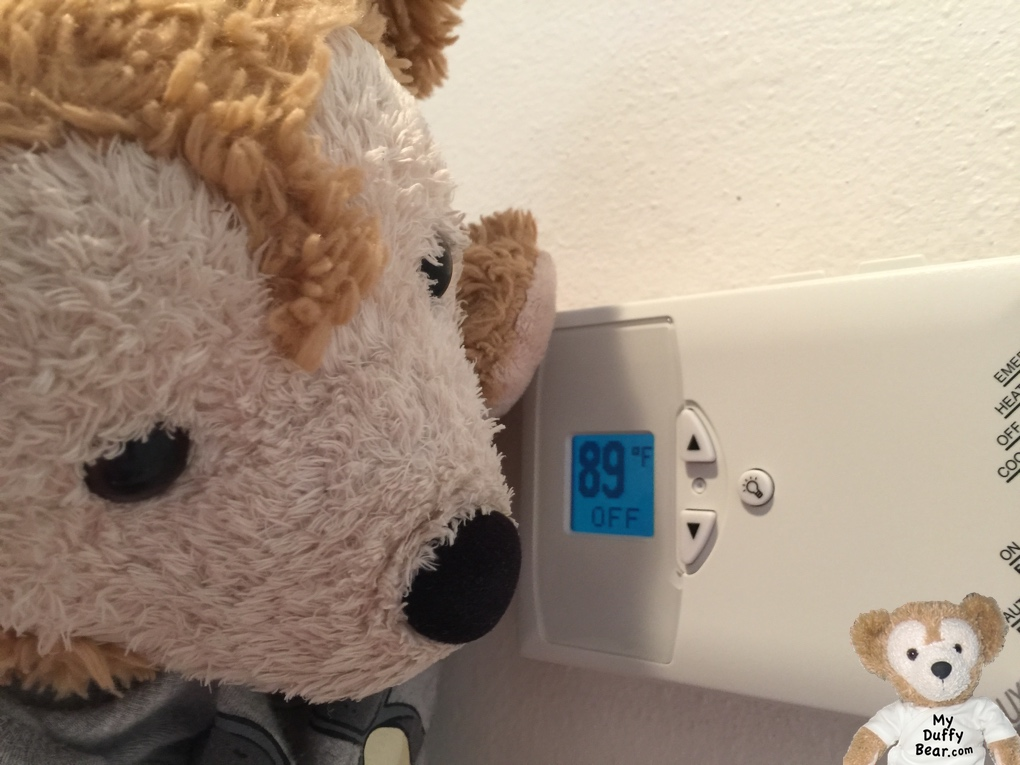 Duffy the Disney Bear air conditioner is broken He looks at thermostat in shock! It reads 89 degrees inside the house!