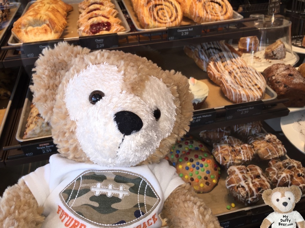 Duffy the Disney Bear asks mommy to buy him some Panera Bread sweets to go.