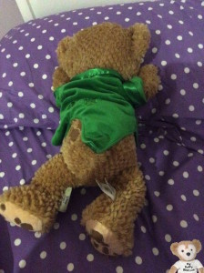 Duffy the Disney Bear is very sad because his owner is sick with a strep throat.