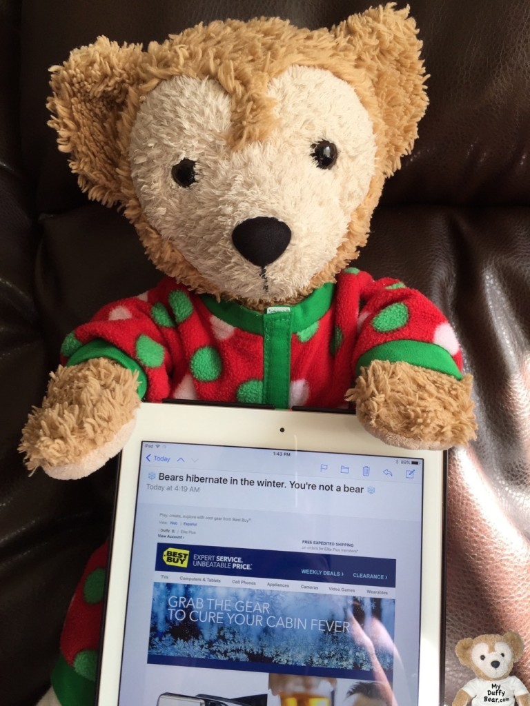 Duffy the Disney Bear reads his Best Buy email