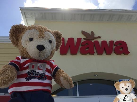 Duffy the Disney Bear stops in front of WaWa for his selfie